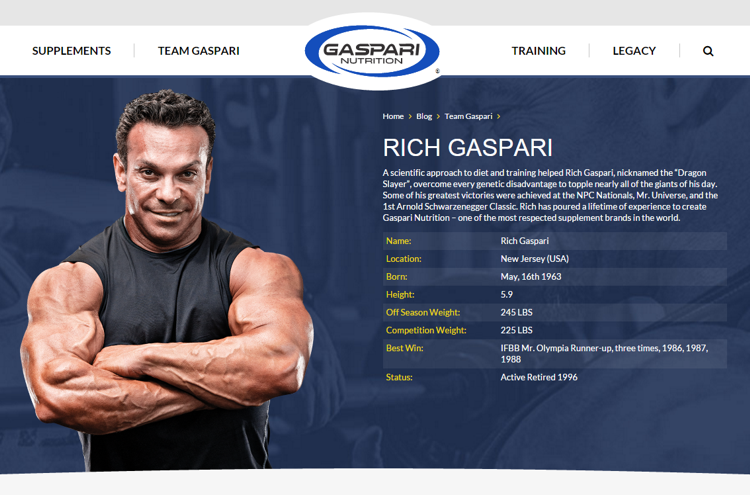 Screenshot: gasparinutrition.com